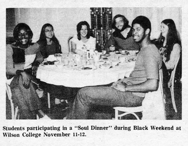 """Students participating in a 'Soul Dinner' during Black Weekend at Wilson College November 11-12"""