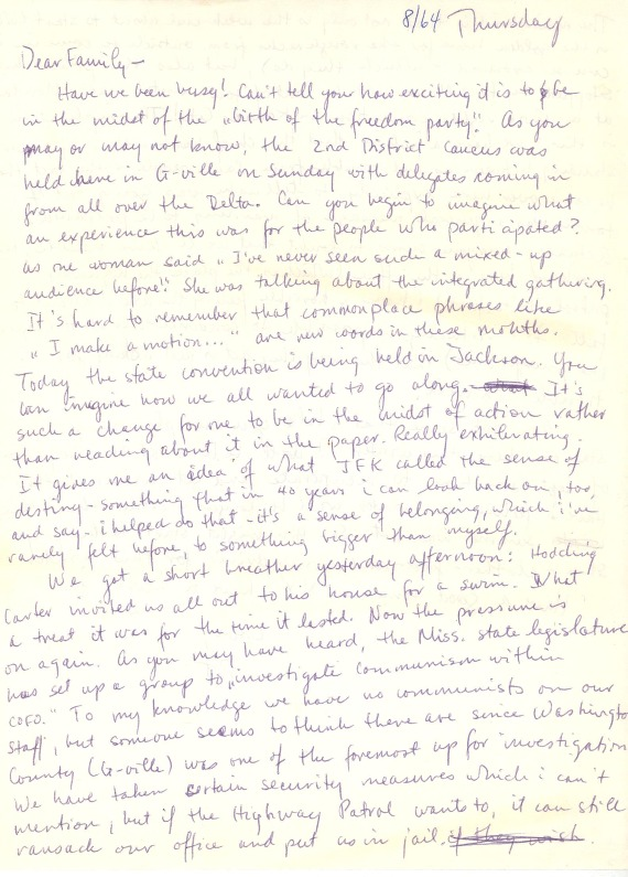Letter from Pat Vail to her family, 1964-08