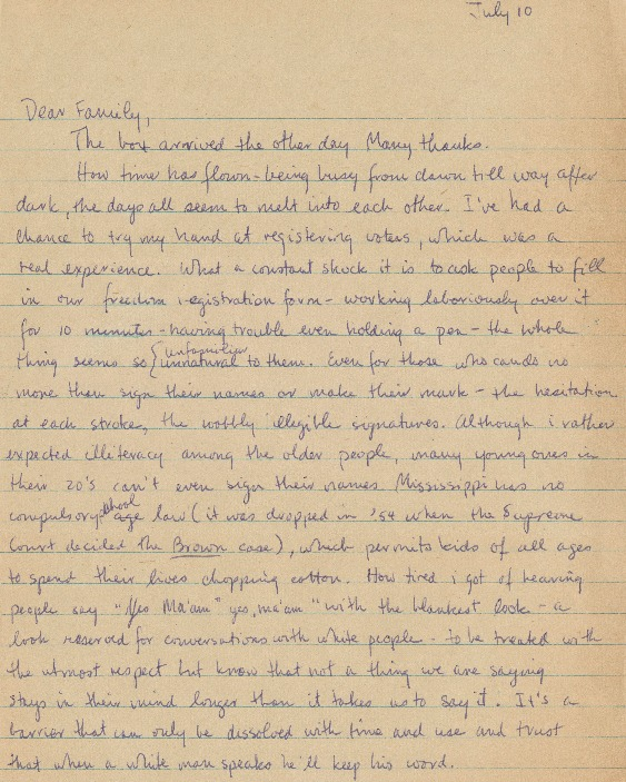 Letter from Pat Vail to her family. 1965-07-10