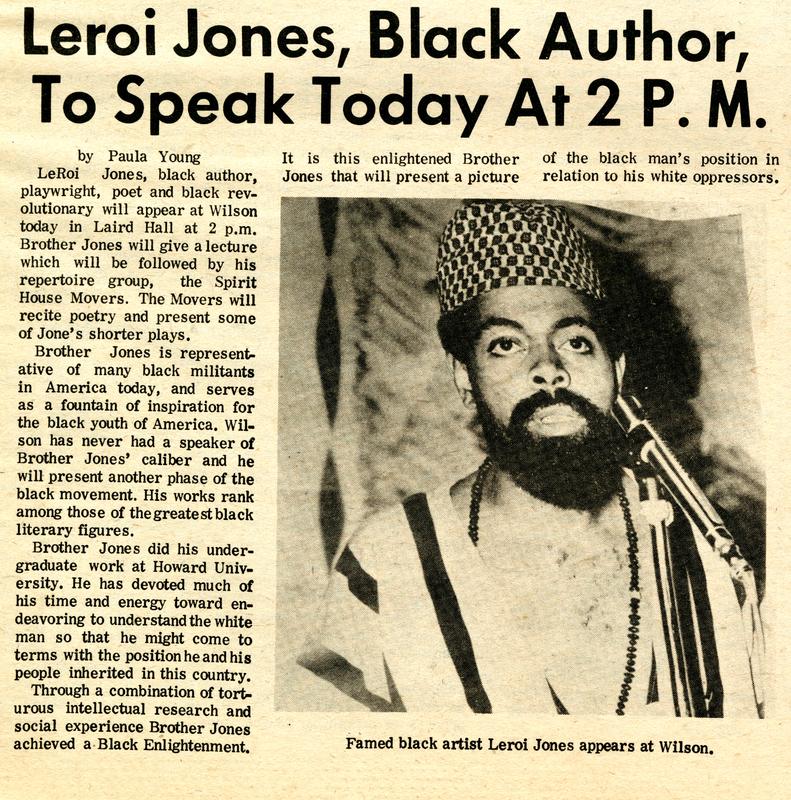 """""""Leroi Jones, Black Author, To Speak Today at 2 P.M."""""""