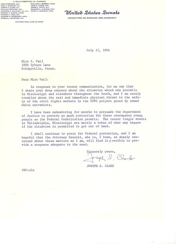 Letter to Pat Vail from Senator Joseph Clark