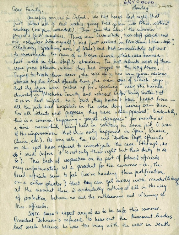 Letter from Pat Vail to her family, 1964-06-22