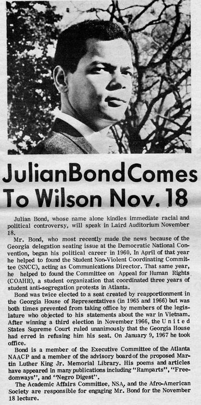 """Julian Bond Comes to Wilson Nov. 18"""