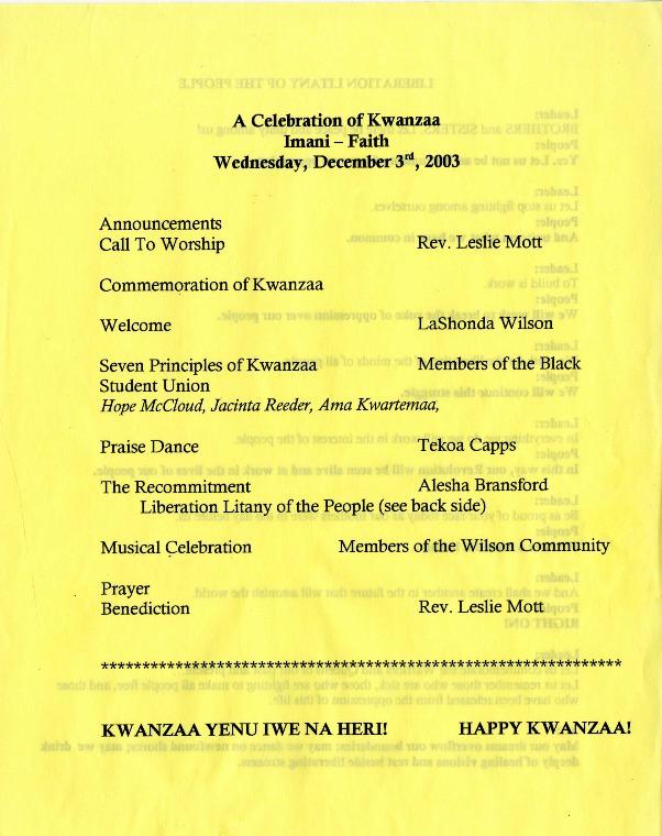 """""""A celebration of Kwanzaa"""""""