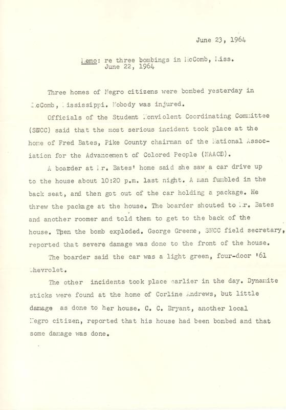 Memorandum regarding bombings in McComb, Miss.