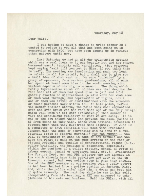 Pat Vail Letter to Family, 1964-05-28