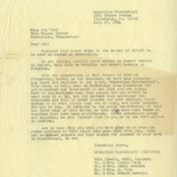 Letter from Operation Mississippi Committee to Pat Vail