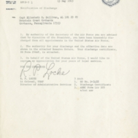 Notification of discharge letter from R. P. Locke, Lieutenant Colonel USAF to Captain Elizabeth M. Sullivan