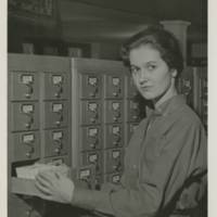 Card catalog with student Kathy Taggert