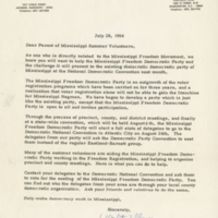 Letter from Walter Tillow of the Mississippi Freedom Democratic Party to Mr. and Mrs. Vail