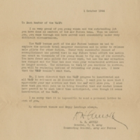 Letter from H. H. Arnold, Commanding General, Army Air Forces to Elizabeth McGeorge Sullivan