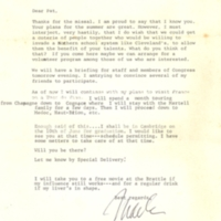 Letter to Pat Vail from Congressman Charles Vanik